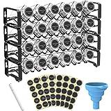 Spice Rack Organiseur avec 24 boîtes à épices carrées vides avec marqueur à craie et kit d'entonnoir complet pour plan de tra