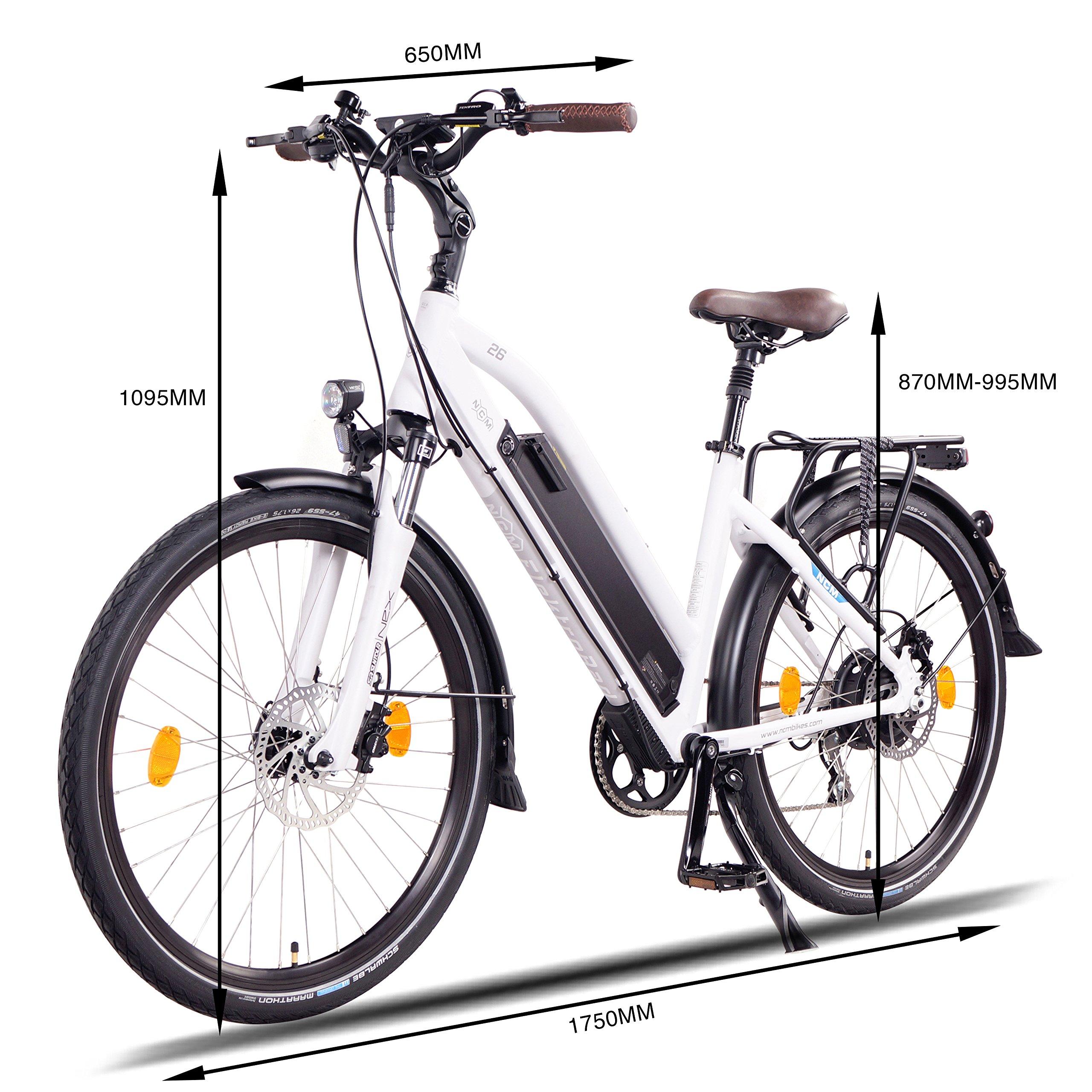 frenos hidr/áulicos 8/marchas. para hombre y mujer 250/W con el motor trasero 66 // 71/cm 48/V NCM Milano+ Bicicleta el/éctrica urbana 14/Ah 672/WH bater/ía Panasonic de ion de litio celdas