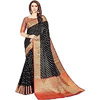 SORU FASHION Women's Banarasi Silk Saree With Un-stitched Blouse