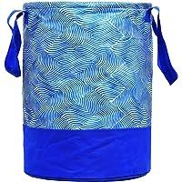 Fun Homes Laheriya Printed Waterproof Canvas Laundry Bag,Toy Storage,Laundry Basket Organizer 45 L (Blue)
