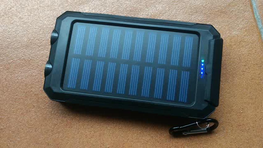 10000mAh Cargador Solar, Puerto USB Dual Banco de energía solar con luz 2Led Compás incorporado Cargador portátil portátil del teléfono del panel para el ...