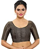MADHU FASHION's Traditional Banaras Brocade Readymade Saree Blouse with Elbow Length Sleeves