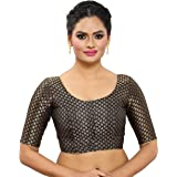 MADHU FASHION's Traditional Banaras Brocade Readymade Saree Blouse with Elbow Length Sleeves
