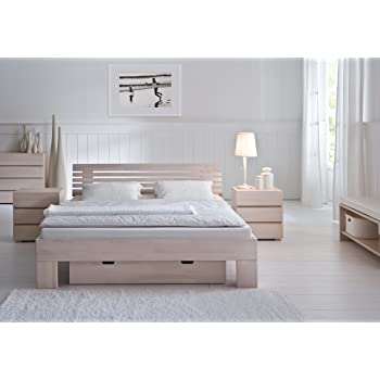 Stilbetten Bett Holzbetten Stilo Buche Weiss Lasiert 140x220 Cm