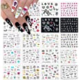 Kalolary 20pcs Snake Nail Art Stickers Water Transfer Nail Decals, Flower Letter Snake Rode Lippen Nail Design Stickers Nail