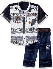 AJ Dezines Kids Party Wear Shirt and Shorts Clothing Set for Boys (683_WHITE_28)