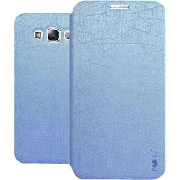 Heartly Premium Luxury PU Leather Flip Stand Back Case Cover For Samsung Galaxy E7 SM-E700F Dual Sim - Power Blue
