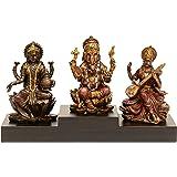 "AONA Bonded Bronze Goddess Laxmi Ganesha Saraswati Idol (Multicolour, 3"" Height X 3"" Width)"