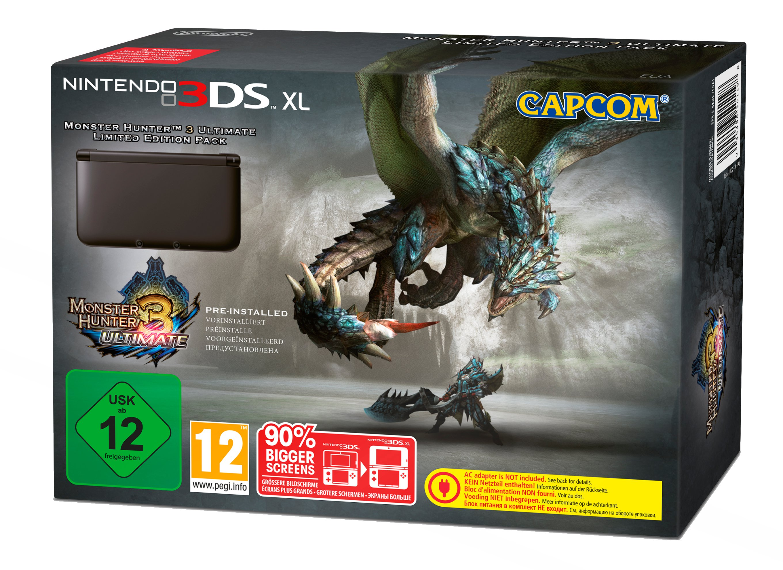 3 Ultimate Hunter Monster 2ds (Nintendo 3DS XL - Konsole, schwarz + Monster Hunter 3 Ultimate (vorinstalliert))