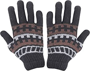 Krystle Unisex Woolen Thermal Winter Stretchy Thick Knitted Gloves (Black, Free Size)