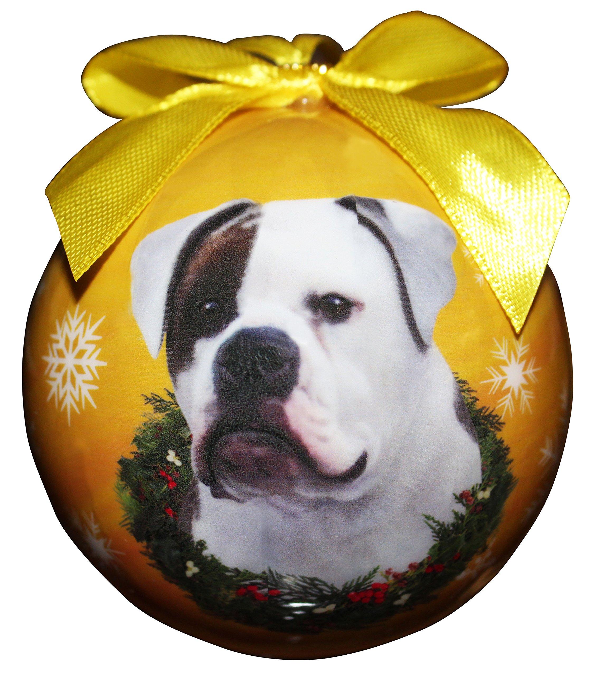 """American Bulldog Christmas Ornament"" Shatter Proof Ball"
