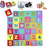 KIDUKU® 86-delige puzzelmat kinderspeelkleed speelmat speeltapijt schuimmat kinderkleed, cijfers en hoofdletters, afmetingen