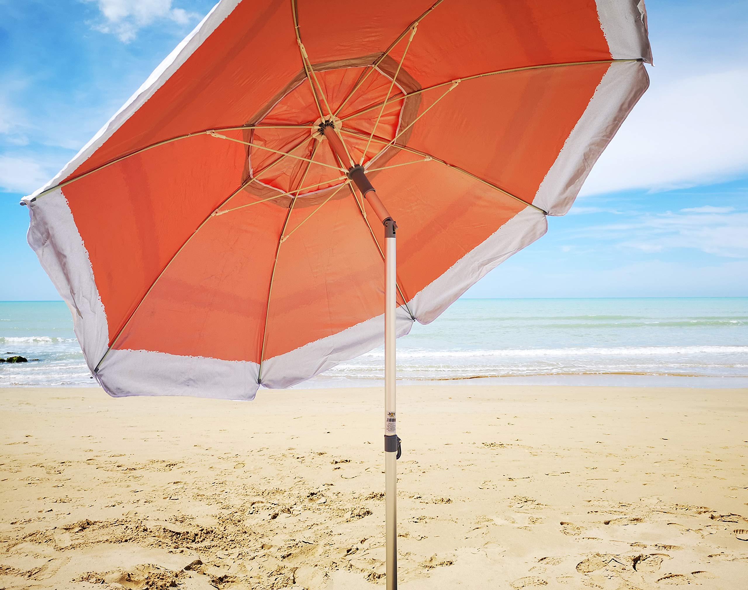 Joy Summer Ombrellone in Alluminio Spiaggia Mare con Camino Anti-Vento Ultra Leggero PANAREA Rosso