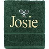 TeddyTs Personalised Name Cotton Embroidered Tennis Accessory Towel (Green)
