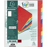 Exacompta - Réf. 2612E - Intercalaires en véritable carte lustrée rigide 400g/m2 FSC avec 12 onglets neutres - Page d'indexat