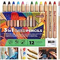 colozoo Crayons de Couleurs Enfants 3 en 1 Set de 12 Couleurs avec Brosse et Taille-Crayon | Couleurs Non Toxiques et…