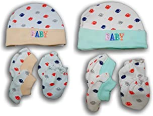 FeatherTouch New Born Baby Cap, Mittens Booties Combo Set, 0-3 Months, Infant, White Printed, Pack of 2 Sets