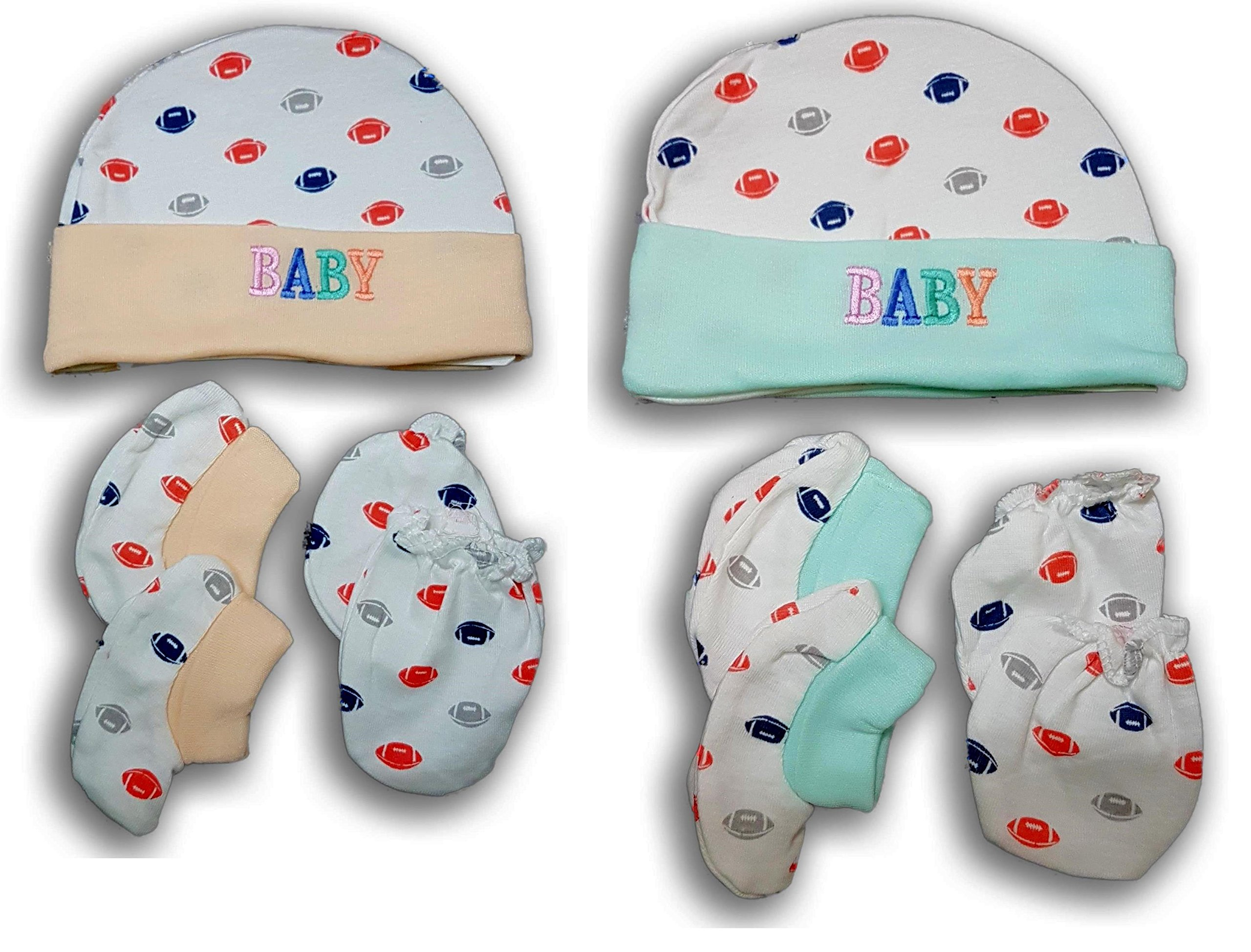 f20733c0e FeatherTouch New Born Baby Cap, Mittens Booties Combo Set, 0-3 Months,  Infant, White Printed, Pack of 2 Sets