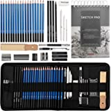 Drawing Pencils Sketch Art Set-40PCS Drawing and sketch set Includes 18 Sketching graphite Pencils,graphite and charcoal penc