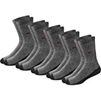 NAVYSPORT Men's Solid Cushion Comfort Cotton Crew Socks, Pack of 5 Pairs