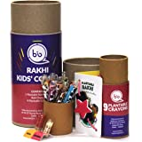 bioQ Eco Friendly Rakhi Set for Kids Combo with Plantable Crayon 9 Pieces Box and Rakhi Kit with Tulsi Seeds , Roli Chawal In