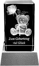 Kaltner Präsente Stimmungslicht - Das perfekte Geschenk: LED Kerze/Kristall Glasblock/3D-Laser-Gravur Glückwunschkarte Geburtstagskarte ZUM GEBURTSTAG VIEL GLÜCK