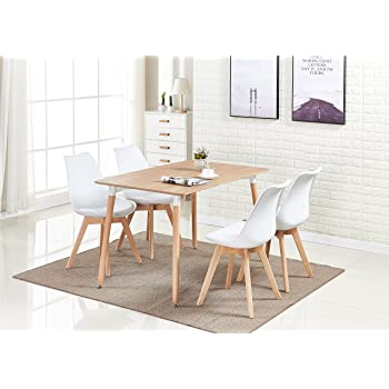 P&N Homewares Lorenzo Dining Table and 4 Chairs Set Retro and Modern ...