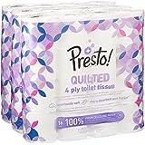 Marque Amazon - Presto! Papier toilette 4 épaisseurs - MATELASSÉ - Lot de 48 (3 x 16  x 160 feuilles)