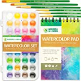 Free Hand Water Color Paint Set - 36 Premium Water Color Paints - 12 Page Water Color Paint Pad - 6 Paint Brushes