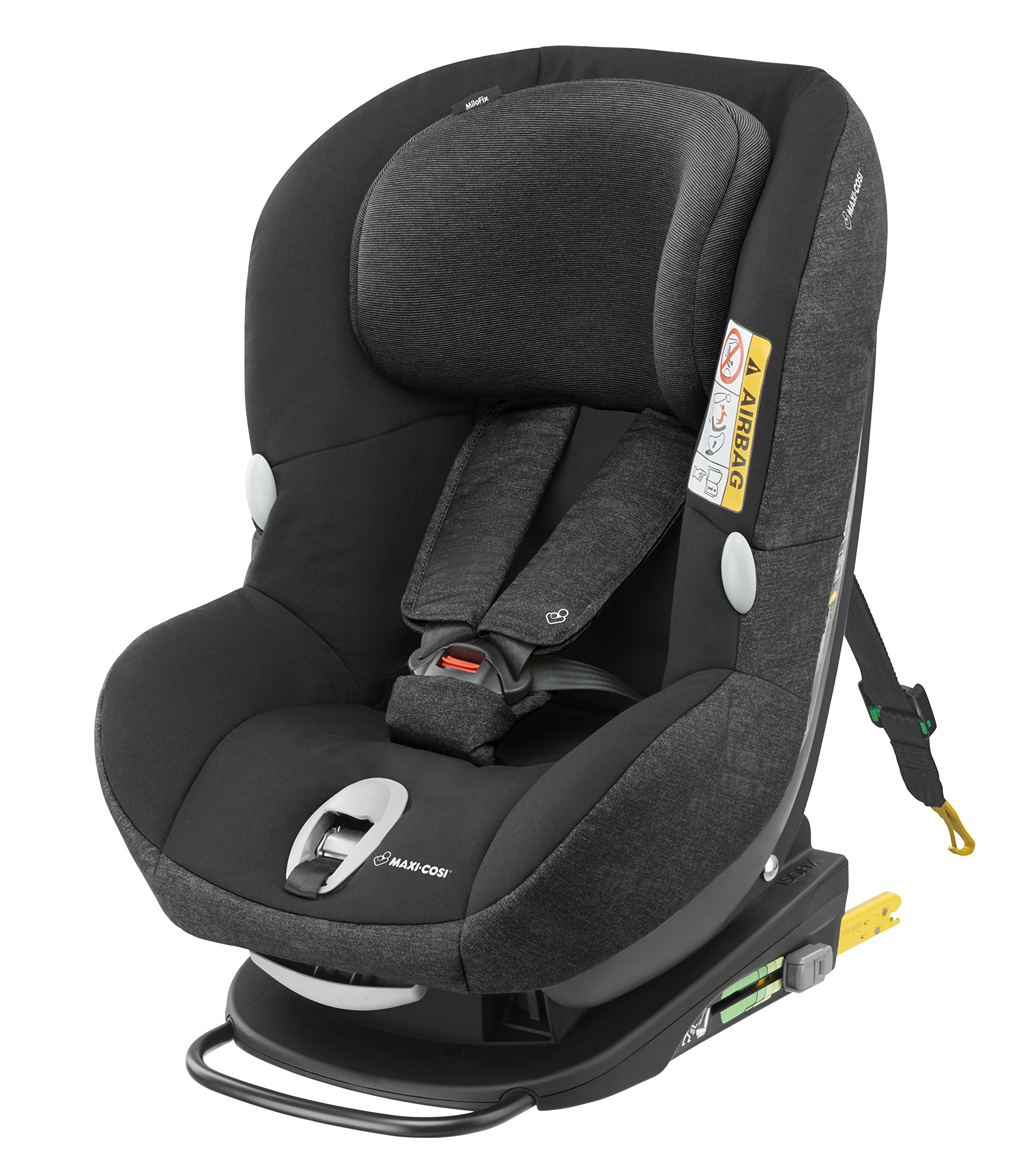 Maxi-Cosi MiloFix ISOFIX Combination Car Seat, Group 0+/1 car seat, Rear and Forward-facing, 0-4 years, 0-18 kg, Nomad Black Maxi-Cosi Rear and forward facing group 0+/1 car seat, suitable from birth to 18 kg (birth to 4 years) i-Size car seat, extended rearward-facing travel up until 18 months Padded seat and angled base provide additional leg room in rear-facing position 1