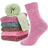 Emooqi Calcetines de Lana, Calcetines de Lana Cálidos de Confort Casual de Mujer de Invierno UK 4~6.5 y Eu 34.5~39