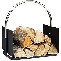 Relaxdays 10034338 Panier Bois de Chauffage, pour cheminée, en métal, poignée nickelée, Corbeille bûches, HxlxP 43,5x40…
