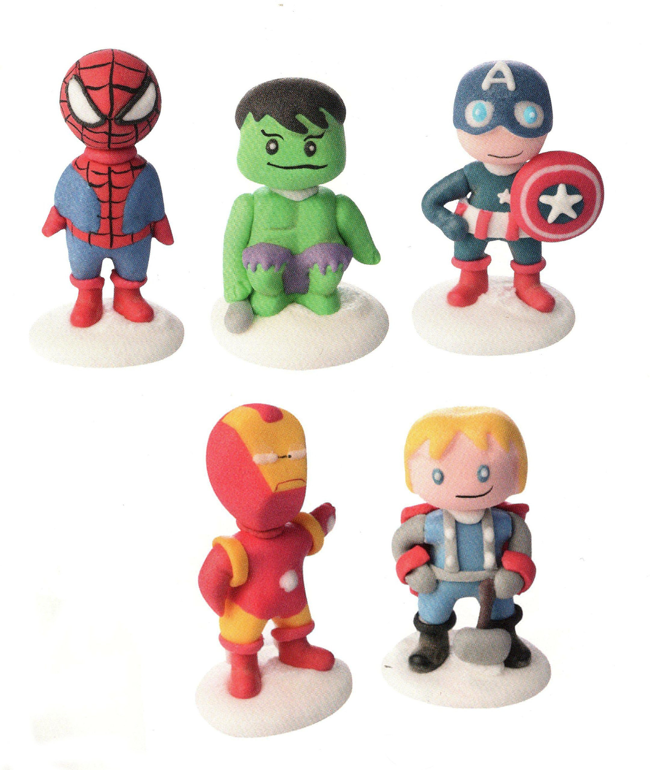 Soggetti in zucchero personaggi SUPER EROI 3D - SpiederMan, Hulk, Capitan America, IronMan, Thor - D