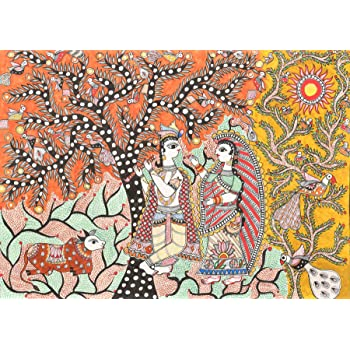 Exotic India Radha Krishna in a Grove - Madhubani Painting on Hand Made Paper - Folk Painting from t