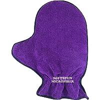 SOFTSPUN Microfiber Glove Mitt 1 Piece Set, 340 GSM (Purple). Multipurpose Thick Lint & Streak-Free Microfibre Mitt for Car, Bike, Glasses, Cleaning, Polishing, Washing & Detailing.