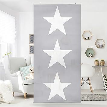 Kinderzimmer sterne grau  Flächenvorhang Set Große weiße Sterne auf grau Sterne weiß ...