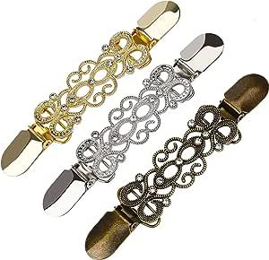 HONGXIN-SHOP Cardigan Clip Vintage Scialle Clip Strass Fiori Pizzo Design Maglione Clip per Donne Ragazze 3 Pezzi