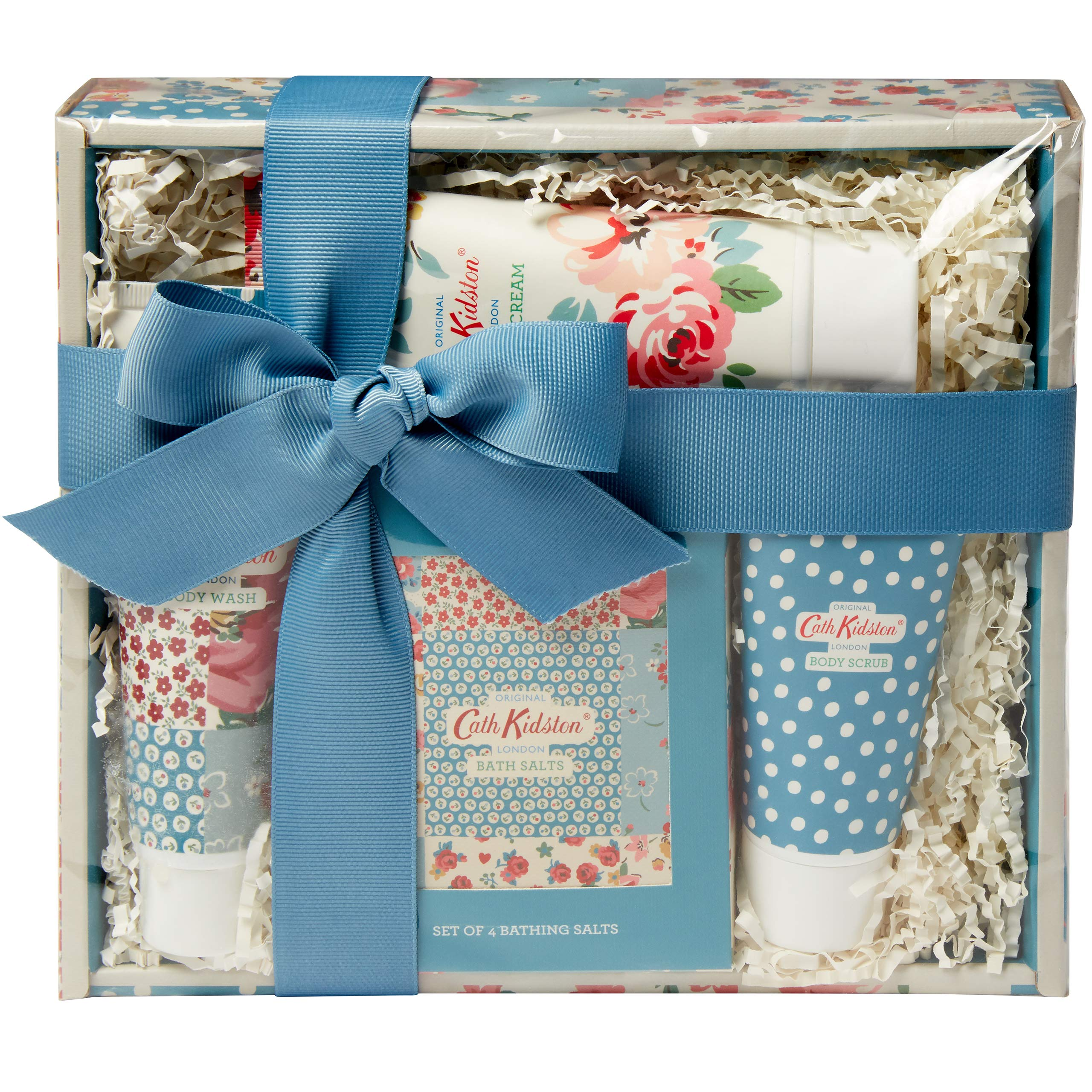 Cath Kidston Beauty Cottage Patchwork Pamper Hamper, 100 ml Hand Cream, 50 ml Body Scrub, Box Set of four Bathing Salts, 75 ml Body Wash