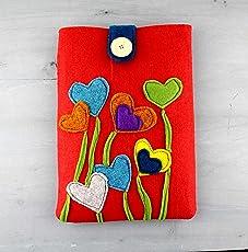 Tablet sleeve Schutzhülle aus Filz - rot, mit Blumen - Herzen