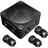 Zwarte Wiska 308/5 Combi aansluitdoos met 3 x GLP20+ IP68 kabelwartels buiten bedrading