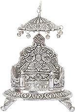 HOUZZPLUS White Metal Thakur Ji Simhasan, 13x13x18cm (Silver, GH472)