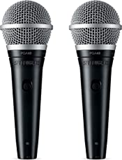 Shure PGA48-QTR Cardioid Dynamic Vocal Mic Microphone w/ XLR-QTR Cable (2 Pack)