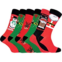 Sock Snob FESTIVE FEET - 6 Paia Uomo Eleganti Fantasia Cotone Calze di Natale