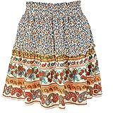 Boheemse etnische stijl korte rok met ruches print rok is fris en lief dames A-lijn rok
