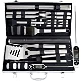 Romanticist 28Pcs Kit d'accessoires pour Barbecue à Griller - Accessoires de Barbecue en Acier Inoxydable pour Le Camping en