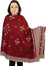 Fashion Accessory for Women - Handmde Pure Wool Shawl for Girls Red 84x36 Inches