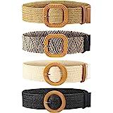 4 Piezas Cinturones de Cintura Elástico de Tejido de Paja Cinturón de Vestir Flaco de Mujer Banda de Vestido de Cintura con H