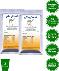 As Fresh Camel Milk Powder 40gms (2 sachets of 20gms Each, Freeze Dried, Gluten Free, No Additives, No Preservatives)