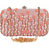 Anekaant Adorn Embroidered & Embellished Faux Silk Clutch
