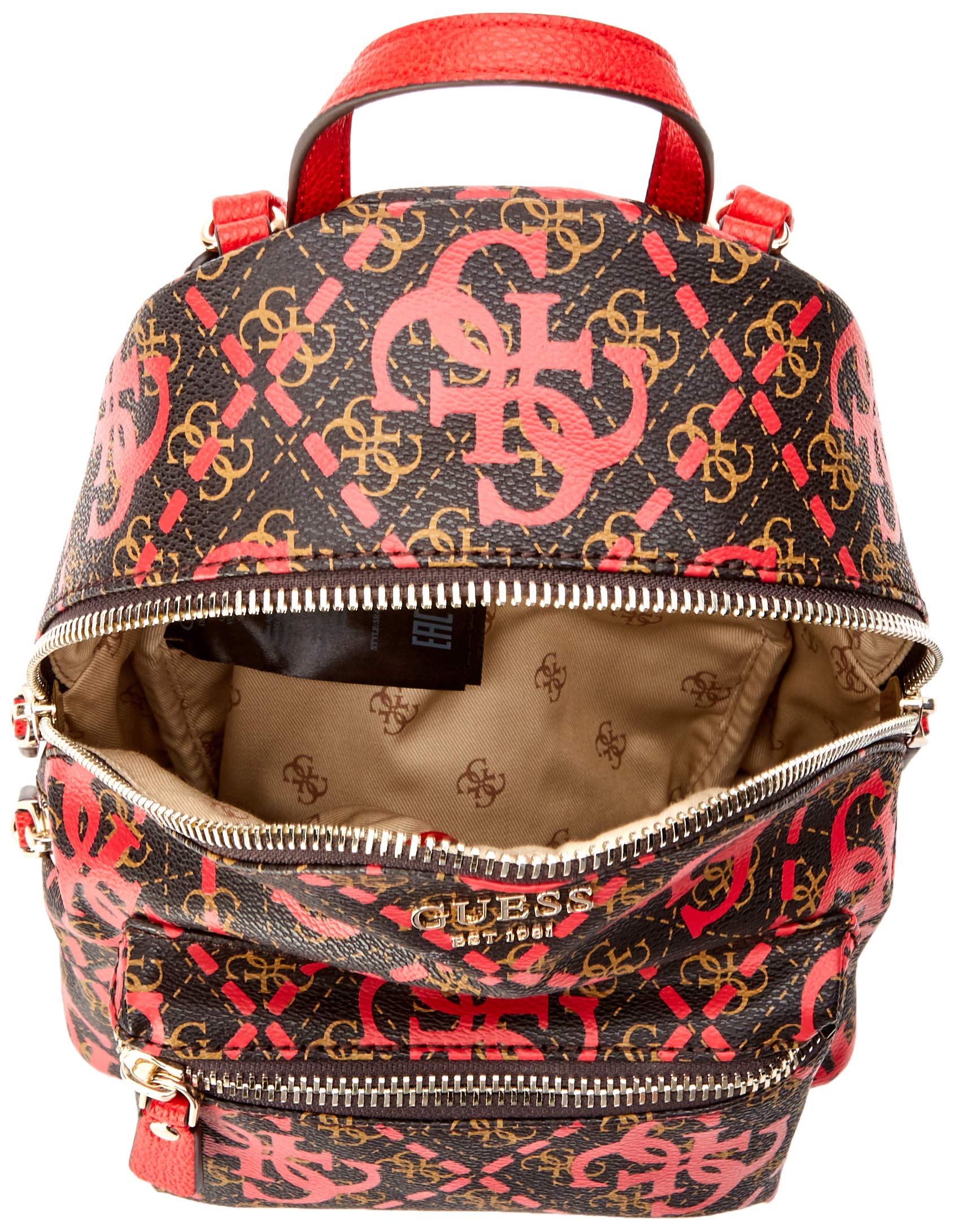 91y%2BR7BC0jL - Guess - Leeza Backpack, Mujer, Multicolor (Red Multi), 22x29x10.5 cm (W x H L)